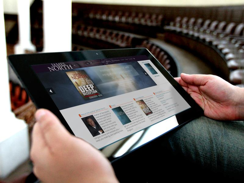 James North Thrillers website displayed on a tablet