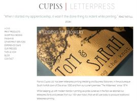 Screenshot of the Cupiss Letterpress website