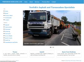Screenshot of the Whiterod Surfacing website