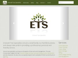 Screenshot of the Emerald Tree Specialists website