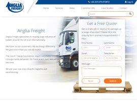 Screenshot of the Anglia Freight website