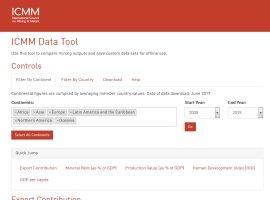 Screenshot of the ICMM Data Tool website